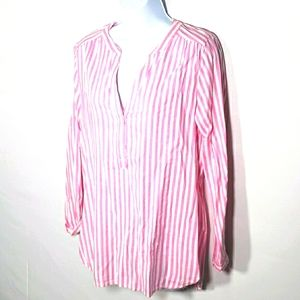 Old Navy Pink and White Striped Blouse Size Small